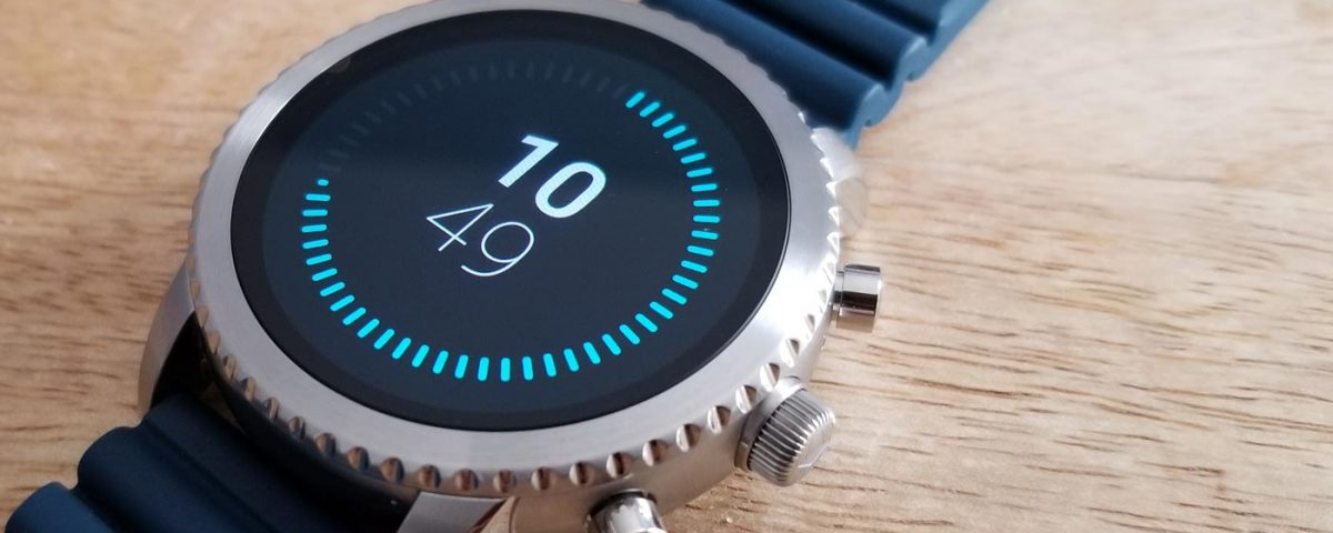 Picture of Fossil Q Explorist smart watch in silver with silicone band and minimalist watch face